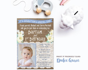 White Blue Baptism Invites, Baptism 1st Birthday invitation file for boy, personalized download invite, Christening invite with photo, pdf