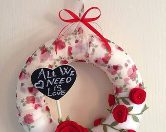 Just Roses ... Handmade felt/yarn wreath (not only) for VALENTINE's DAY