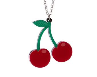 Cherries cherry necklace - laser cut acrylic