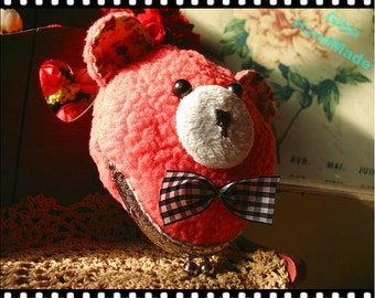 Pink Teddy Bear coin purse   /// Coin Wallet clutch / Pouch coin bag / Kiss lock frame purse bag-GinaHandMade