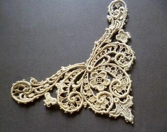 french  application lace vintage aplicación encaje beig de seda