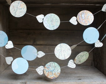 Hot Air Balloon Garland, Travel Theme, Map Garland, Paper Garland, Party Decoration, Baby Shower Decoration, 10 feet long