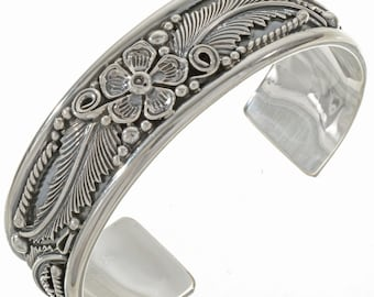 Silver Cuff Bracelet Traditional Southwest Navajo Made