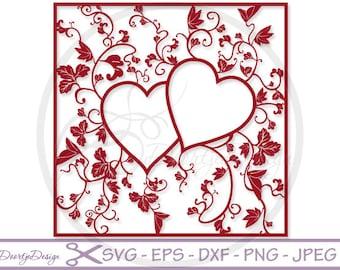 Heart Monogram SVG files Floral, SVG Valentines day, files monogram Heart for Cricut, Square Monogram, cut file, Instant Download