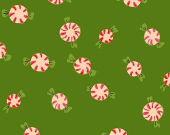 Sugarplum by Heather Ross for Windham Fabrics - Peppermints - Green - 50167-5 - 1/2 Yard Cotton Quilt Fabric