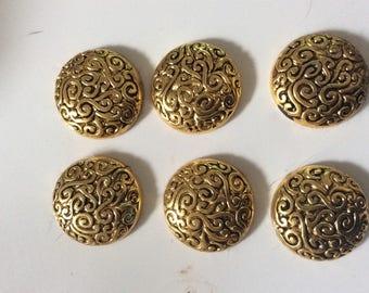 Set of 6 Golden cabochons