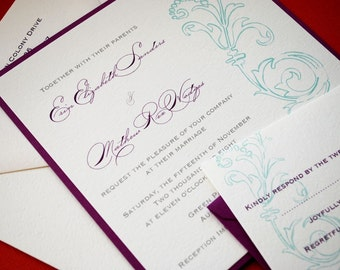 Megan- Wedding Invitation sample, invitation set, suite, elegant, wedding ceremony