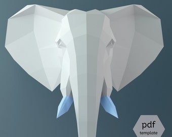Papercraft Elephant, 3D Papercraft PDF, 3D Template, Wall Sculpture Decor, Elephant head, Circus Party, DIY Hanging Model