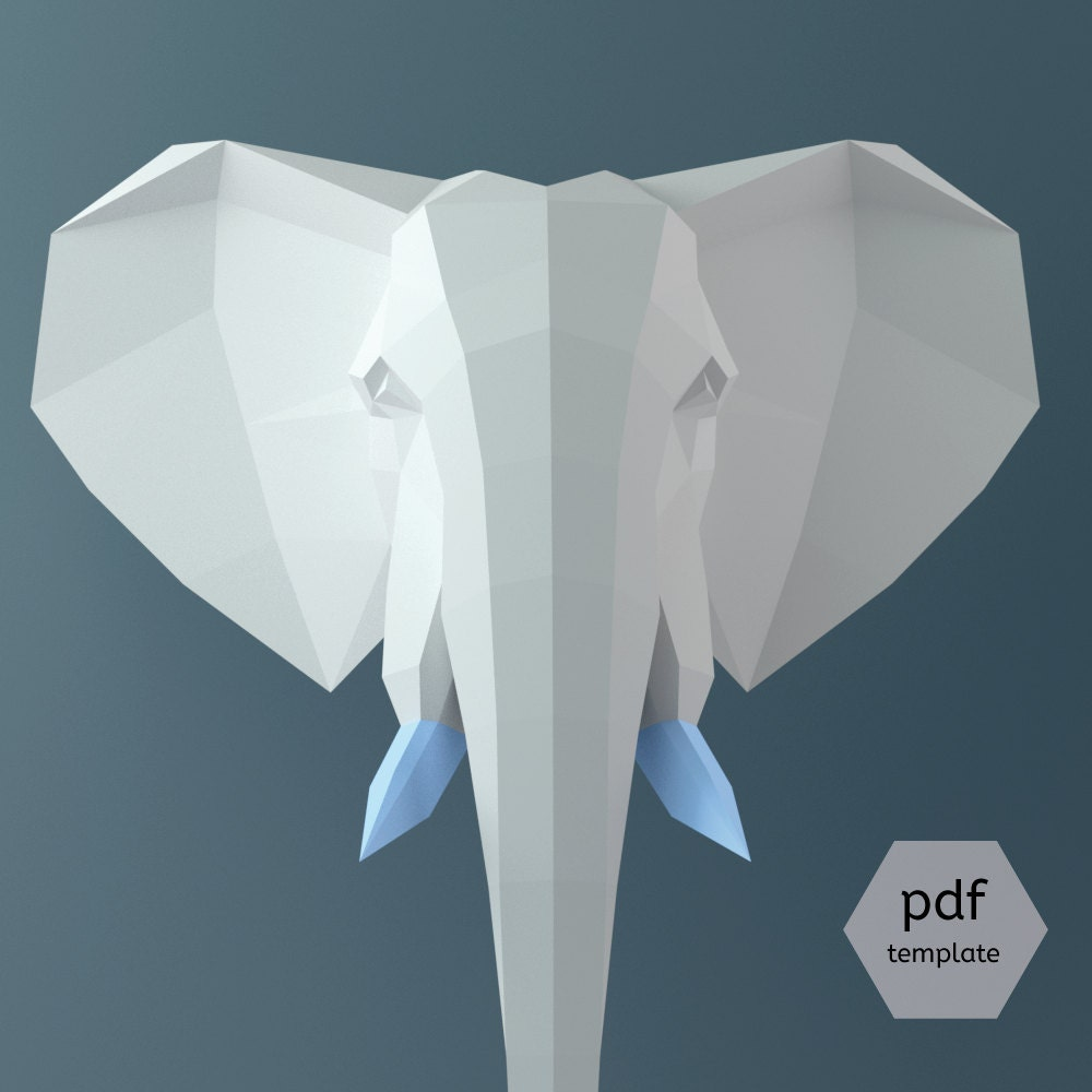 Papercraft Elephant, 3D Papercraft PDF, 3D Template, Wall Sculpture ...