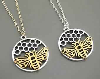 Bee Necklace - Gold Necklace - Honeycomb Necklace - Silver Necklace - Save the Bees - Mixed Metal Necklace - Pendant Necklace - handmade
