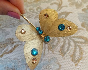 gold butterfly hair pin, butterfly hair accessories, gold and teal wedding, bridal hair clip, Swarovski crystals, turquoise hair accessories