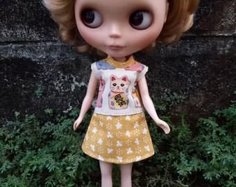 Dolldress Lucky cat print for Blythe Licca Momoko Skipper