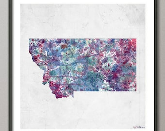 MONTANA Map, Map of Montana, State, Watercolor painting, Poster Montana, Modern Abstract, Poster Print, Wall Art, Home Decor, Decoration