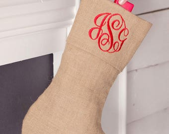 Personalized Burlap Stocking - Burlap Stocking -