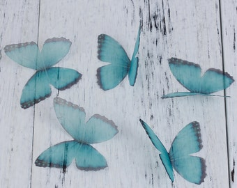 free UK postage Pack of 5 Ethereal Organza Blue Green Butterfly for Millinery or Decoration B0084193