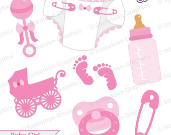 Baby Girl Clipart - Instant Download File - Digital Graphics - Cute - Crafts, Web, Parties - Commercial & Personal Use - #B002