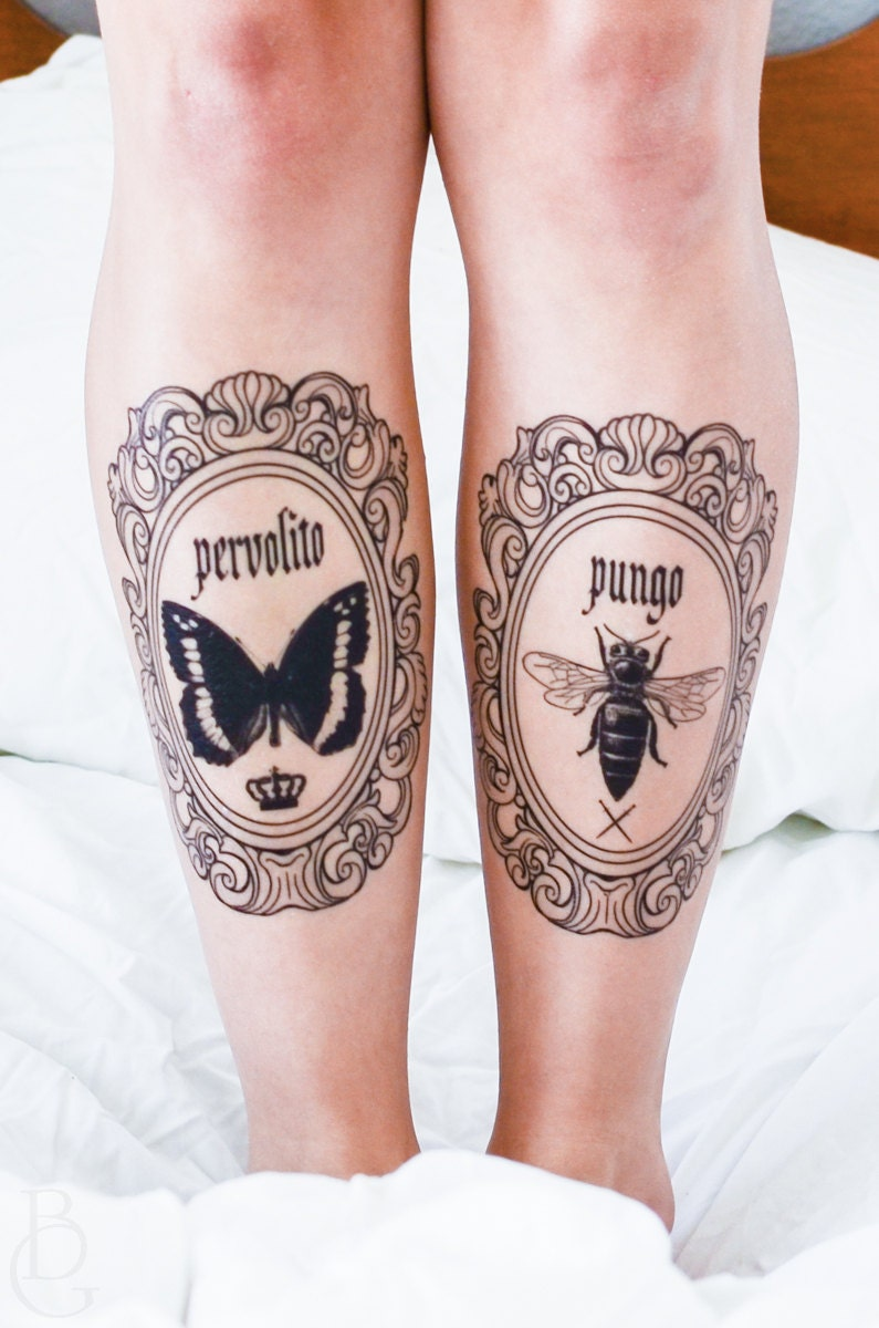 Butterfly and Bee Latin Frame Temporary Tattoos