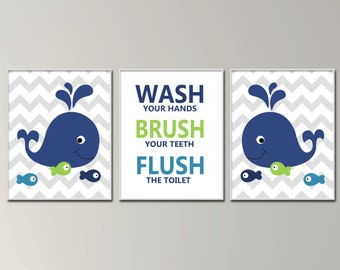 Children Bathroom Art Prints,  Wash, Brush and Flush Wall Art For Bathrooms,  Whale Bathroom Art Decor in Navy and Green - H297