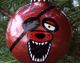 Foxy 5 Nights At Freddy's Face Parody Christmas Holiday Ornament  * Add Year and/or Name for FREE to back  * 5NAF * Five * FNAF