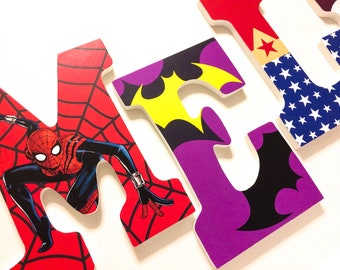 Superhero Women/Girls Wooden Letters, Girl Bedroom