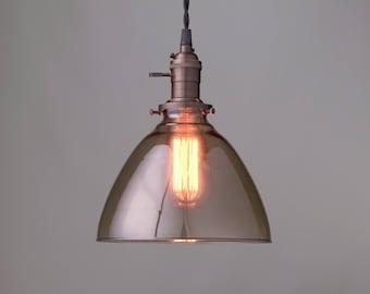 Smoked Glass Pendant - Hanging Edison Light - Industrial Pendant - Modern Lighting