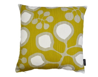 Nordic Scandinavian Swedish Modern Monochrome large print cushion cover - Sedum Mustard
