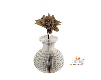 Mini Book Art Vase with Origami patterned  Kusudama Flowers - paper flowers - unique gift - Mothers Day gift - new home - house warming gift