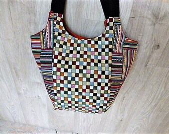 Plaid and stripes fabric bag