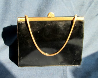 Vintage Coronet Black Clutch Purse Handbag with Gold Tone Trim and Chain
