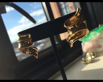 Vintage Gold Ribbon Earrings