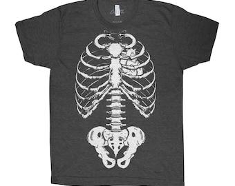 Skeleton T-shirt Men Graphic Tee Custom Hand Screen Print Tri-Blend Short Sleeve