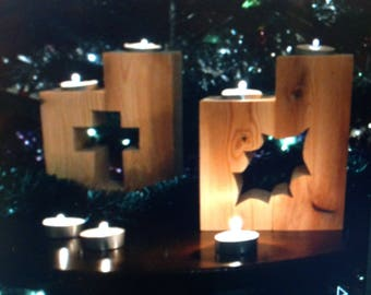 Wooden column candle holders