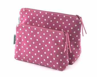 Cosmetic bag Zipper pouch Polka dot makeup bag Magenta wash bag Best friend gift