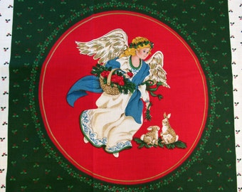 Angel Pillow Panel Fabric 2 PC. Set Angels Red Circles Dark Green White Berries Holly Bunnies Doves Small Angel Trim Peace Love Joy - OOP