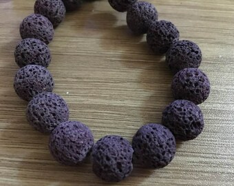 set of 10 natural 12 mm lava stone beads
