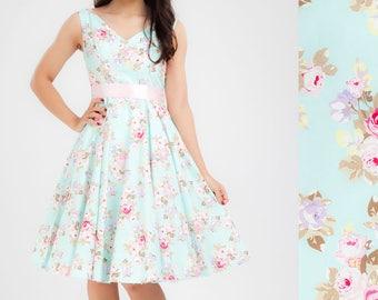 Floral Dress Bridesmaid Dress Aqua Dress Vintage Dress Rose Floral V Neck Dress Pinup Dress Swing Dress Plus Size Dress 50s Dress Prom Dress