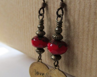 Love Charm and Red Beaded Niobium Earrings - Sweetheart