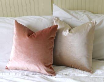 26x26 Blush Velvet Pillow Cover / 26x26 Belgium Velvet / 26x26 Light Pink Pillow / Pink Throw Pillow / Rose Quartz Pillow Cover -VEL5
