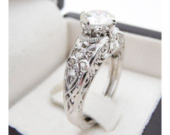 Vintage Diamond  Engagement Ring 14K White Gold Filigree Ring  Vintage Style Unique Engagement Ring