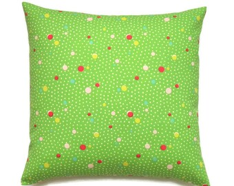 Green Pillow, 16x16 Pillow Cover, Decorative Pillows, Couch Pillow, Designer Pillow Covers, Pillows, Cushion Covers, Deco Dots