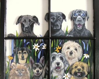Painted Window, Custom Pet Portrait, Dog Loss Memorial, Original Acrylic, Rescue Dogs, Pet Painting, Animal Art, Recycled Art, Painted Glass