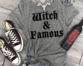 Witch and Famous Raw Neck Off Shoulder Tee - Halloween Tee Shirt - Halloween Yoga Tee - Gym Shirt - Funny Halloween Tee