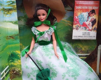 1994 Scarlett O'Hara Barbie Doll NRFB Gone With The Wind BBQ at Twelve Oaks Green White Dress Hollywood Legends Collection Mattel Collector
