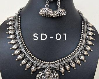 Indian jewelry,Temple jewellery, oxidised handmade jewelry
