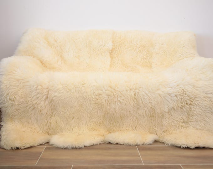 Exclusive  Sheepskin Real Fur Throw | Real Fur Blanket | Ivory  Fur Throw | 180x170cm