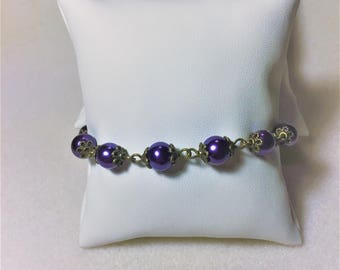 "Bracelet ""Pearls of bronze and purple"""