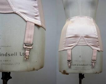 1950s Pink Girdle / 50s Suspender Belt / 1950s Corset / Open Bottom Girdle / Cotton Satin / JB Vintage / Size Medium / M