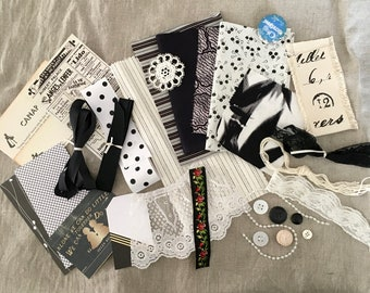 Vintage to New Ephemera / Mixed Media Grab Bag / Scrapbook Collage Journaling / Altered Art / Wedding Lace Buttons / Fabric Trim Notions B&W