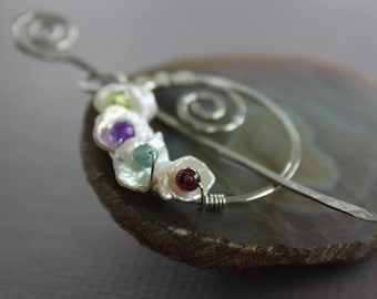 Penannular German silver shawl pin or scarf pin with white keishi petal pearls and multicolored gemstones - Dressy shawl pin - SP070