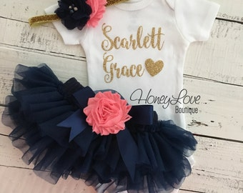 PERSONALIZED gold glitter bodysuit navy blue and coral pink embellished flower tutu skirt bloomer newborn toddler baby girl take home outfit